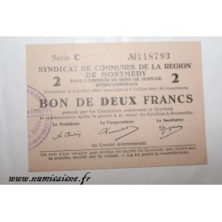 County 55 - MONTMEDY - VOUCHER OF 2 FRANCS 1916 - 05.07