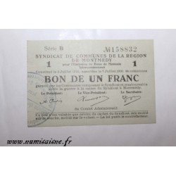 County 55 - MONTMEDY - VOUCHER OF 1 FRANC 1916 - 05.07