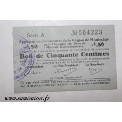 County 55 - MONTMEDY - VOUCHER OF 50 CENTIMES 1916 - 05.07