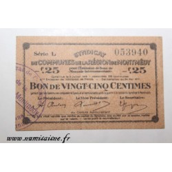 County 55 - MONTMEDY - VOUCHER OF 25 CENTIMES 1916 - 05.07