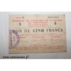 County 55 - MONTMEDY - VOUCHER OF 5 FRANCS 1916 - 07.07