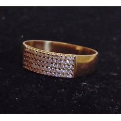 YELLOW GOLD RING - 18 CARATS - PAVING 60 BRILLIANT