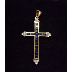 YELLOW GOLD CROSS PENDANT - 18 CARATS - ENDS IN WHITE GOLD - 20 SAPPHIRES