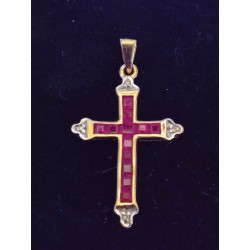 YELLOW GOLD CROSS PENDANT - 18 CARATS - ENDS IN WHITE GOLD - 12 RUBIES