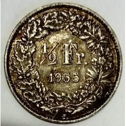 SWITZERLAND - KM 23 - 1/2 FRANC 1955 B - HELVETIA