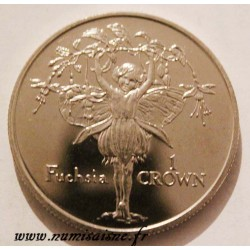 ISLE OF MAN - KM 611 - 1 CROWN 1996 - FLOWERS FAIRY - Fuchsia