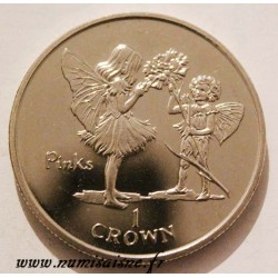 ISLE OF MAN - KM 612 - 1 CROWN 1996 - FLOWERS FAIRY - Pinks