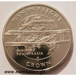 ISLE OF MAN - KM 421 - 1 CROWN 1994 - FIRST FLIGHT ENGLAND TO AUSTRALIA