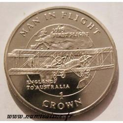 ISLE OF MAN - KM 421 - 1 CROWN 1994 - FIRST FLIGHT ENGLAND TO AUSTRALIA