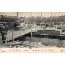 County 60200 - OISE - COMPIEGNE - 1914 - BRIDGE OVER BARGES - CARRIAGE