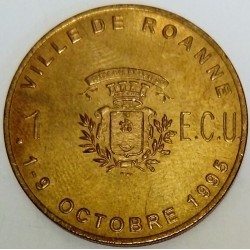 FRANCE - 42 - LOIRE - ROANNE - EURO OF CITY - 1 ECU 1995 - 9TH TABLE ARTS FESTIVAL