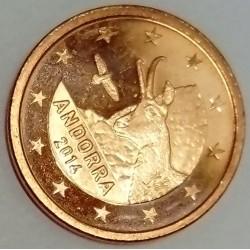 ANDORRA - KM 520 - 1 EURO CENT 2014 - CHAMOIS - EAGLE