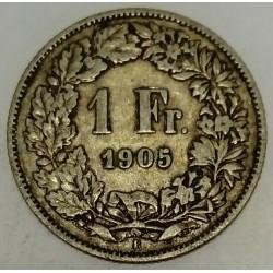 SUISSE - KM 24 - 1 FRANC 1905 B - HELVETIA DEBOUT