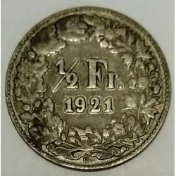 SUISSE - KM 23 - 1/2 FRANC 1921 B - HELVETIA DEBOUT