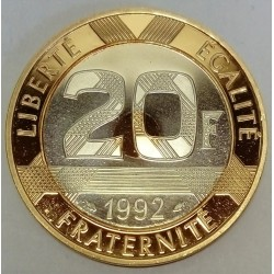 FRANCE - 20 FRANCS 1992 TYPE MONT SAINT MICHEL - GOLD AND SILVER