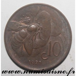 ITALY - KM 60 - 10 CENTESIMI 1921- VICTOR EMMANUEL III - Offset at 1h