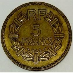 GADOURY 761 - 5 FRANCS 1940 TYPE LAVRILLIER BRONZE ALU - KM 888