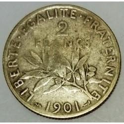 FRANCE - KM 845 - 2 FRANCS 1901 - TYPE SOWER