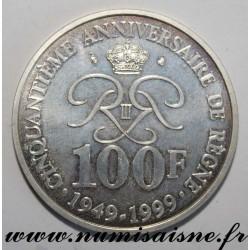 MONACO - KM 175 - 100 FRANCS 1999 - RAINIER III 50 years of reign