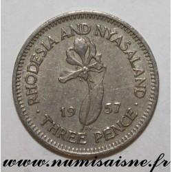 RHODESIA AND NYASALAND - KM 3 - 3 PENCE 1957