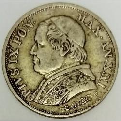 ITALY - PONTIFICAL STATES - KM 1378 - 1 LIRA 1866 R XXI - PIE IX