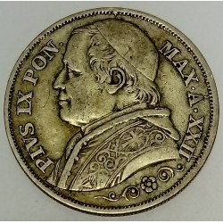 ITALY - PONTIFICAL STATES - KM 1379.2 - 2 LIRE 1867 R AN XXII - PIE IX