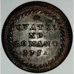 ITALY - PONTIFICAL STATES - KM 1176 - 1 QUATTRINO 1754 - BNEDICT XIV (1740-1758)