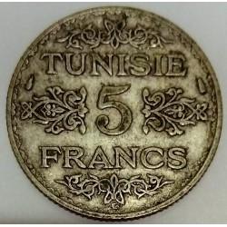 TUNISIA - 5 FRANCS 1934 - AH 1303