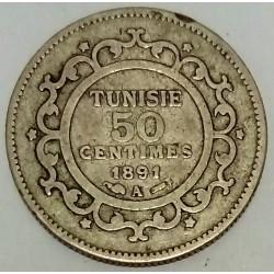 TUNISIA - KM 223 - 50 CENTIMES 1891 A - AH 1308