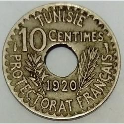 TUNISIA - KM 243 - 10 CENTIMES 1920