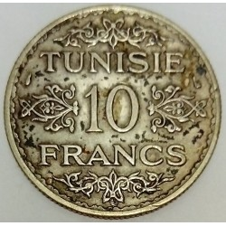 TUNISIA - KM 262 - 10 FRANCS 1934 - AHMAD PASHA (protectorat français)