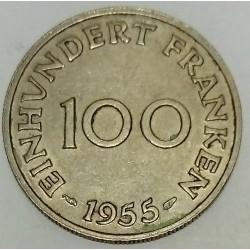 GERMANY - SARRE - KM 4 - 100 FRANKEN 1954