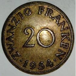 GERMANY - SARRE - 20 FRANKEN 1954