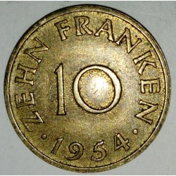 GERMANY - SARRE - 10 FRANKEN 1954