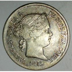 SPAIN - KM 628 - 40 CENTIMOS DE ESCUDO 1865 - ISABELLE II