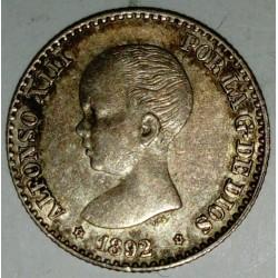 SPAIN - KM 690 - 50 CENTIMOS 1892/89 - ALPHONSE XIII