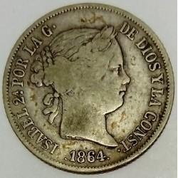 SPAIN - KM 628 - 40 CENTIMOS DE ESCUDO 1864 - ISABELLE II