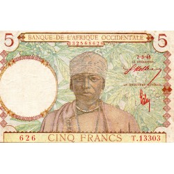 FRENCH WEST AFRICA - PICK 26 - 5 FRANCS - 02/03/1943