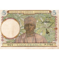 FRENCH WEST AFRICA - PICK 25 - 5 FRANCS - 06/03/1941