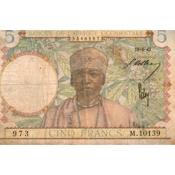 FRENCH WEST AFRICA - PICK 25 - 5 FRANCS - 15/06/1942
