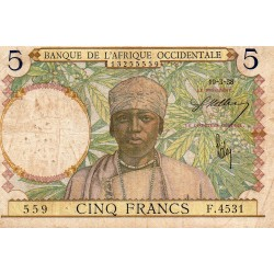 FRENCH WEST AFRICA - PICK 21 - 5 FRANCS - 10/03/1938