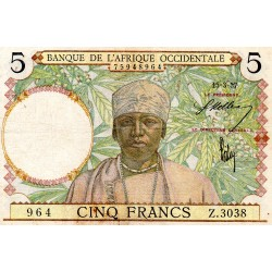 FRENCH WEST AFRICA - PICK 21 - 5 FRANCS - 15/03/1937