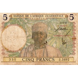 FRENCH WEST AFRICA - PICK 21 - 5 FRANCS - 12/08/1937