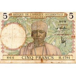 FRENCH WEST AFRICA - PICK 21 - 5 FRANCS - 12/03/1936