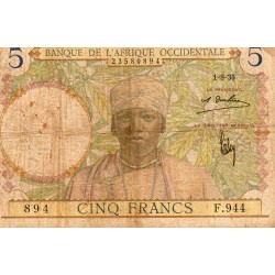 FRENCH WEST AFRICA - PICK 21 - 5 FRANCS - 01/08/1935
