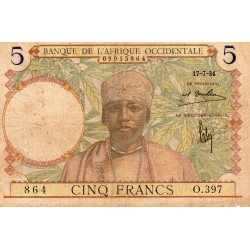FRENCH WEST AFRICA - PICK 21 - 5 FRANCS - 17/07/1934