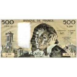 FRANKREICH - PICK 156 - 500 FRANCS PASCAL - 05/01/1984 - S.200