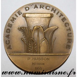 MEDAL - ARCHITECTURE - ACADEMY - ATTRIBUTED TO P. HUSSON - QUANTITY SURVEYOR - 1955