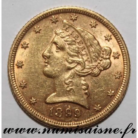 UNITED STATES - KM 101 - 5 DOLLARS 1899 - Philadelphia - LIBERTY - GOLD