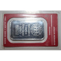 SWITZERLAND -1 OUNCE FINE SILVER BAR 999.0 - ARGOR - HERAEUS